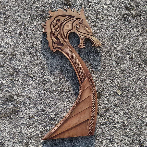 Carved Wood Viking Ship Wall Hanging