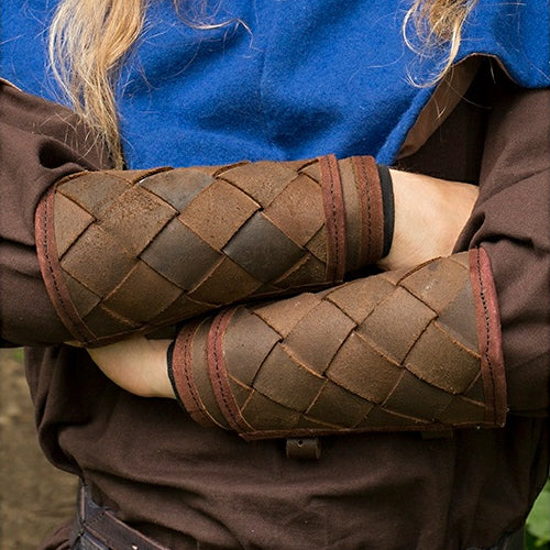 Hatch Pattern Leather Bracers
