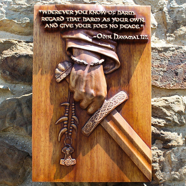 Carved Wood Odin Quote Wall Hanging