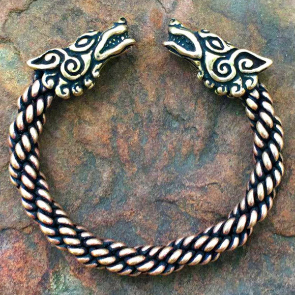 Heavy Braid Wolf Bracelet - Bronze