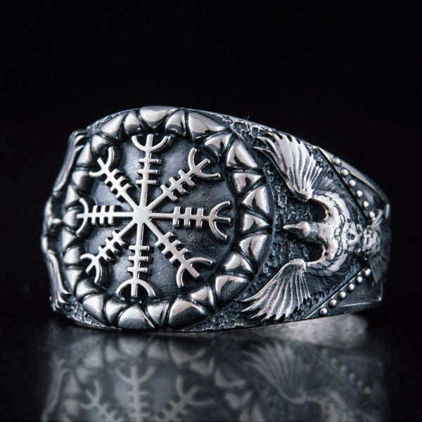 Helm of Awe and Ravens Ring - Silver or Gold
