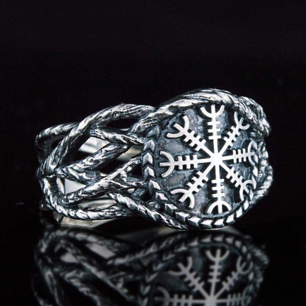 Helm of Awe and Vines Ring - Sterling Silver or Gold