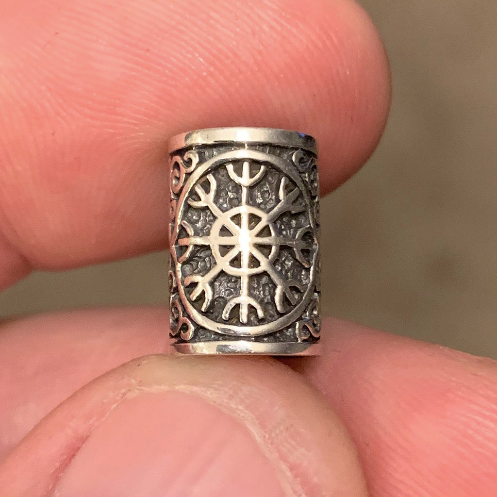 Helm of Awe Beard Bead - Sterling Silver