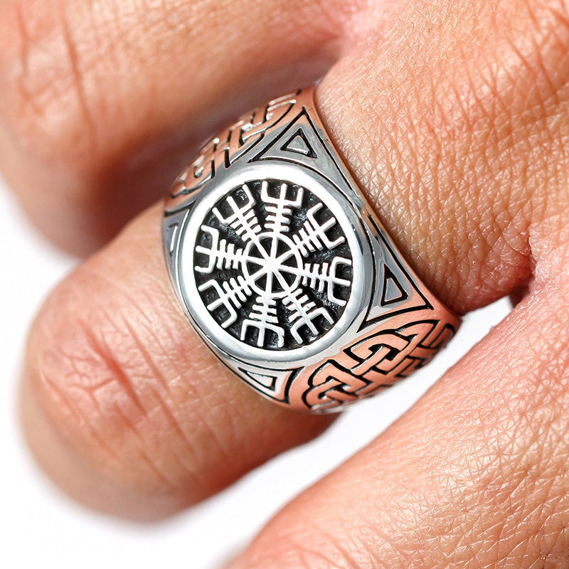 Helm of Awe and Knotwork Ring - Sterling Silver