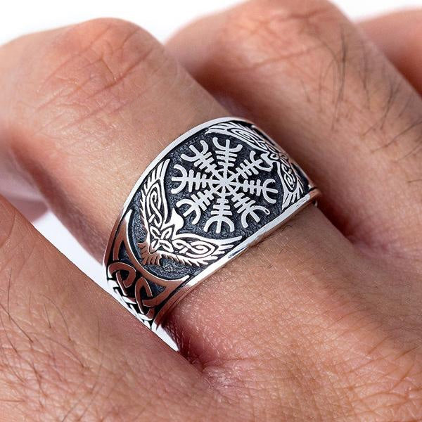 Helm of Awe and Ravens Ring - Sterling Silver