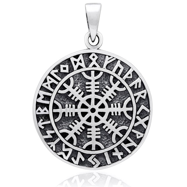 Helm of Awe Runes Pendant - Sterling Silver