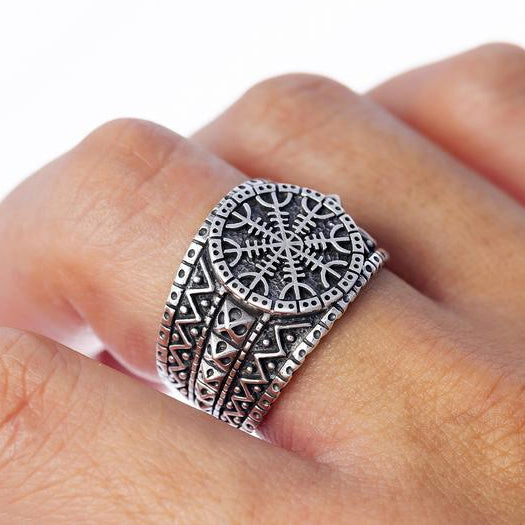 Helm of Awe Viking Ring - Sterling Silver