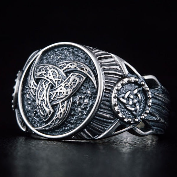 Horns of Odin and Triquetra Ring - Sterling Silver or Gold