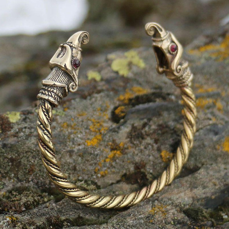Brass Huginn and Muninn Arm Ring