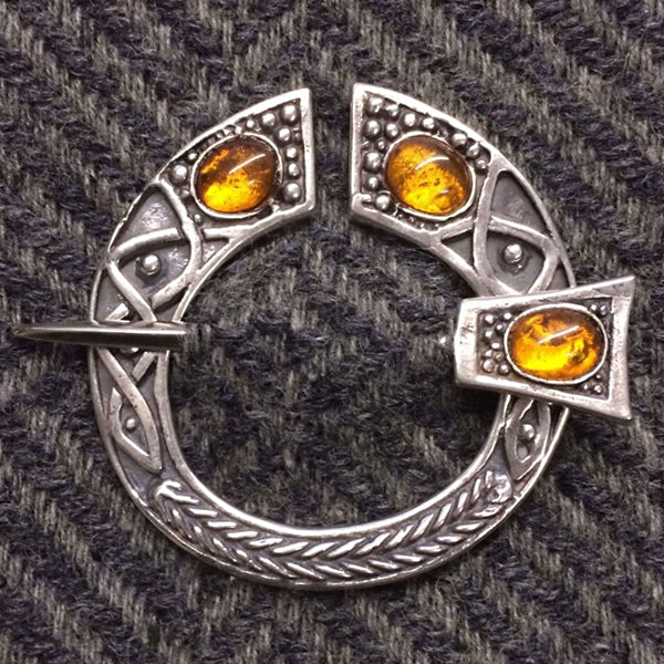 Jeweled Penannular Brooch - Silver or Bronze