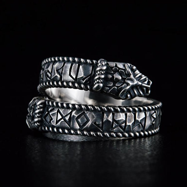 Jormungandr and Runes Ring - Sterling Silver or Gold