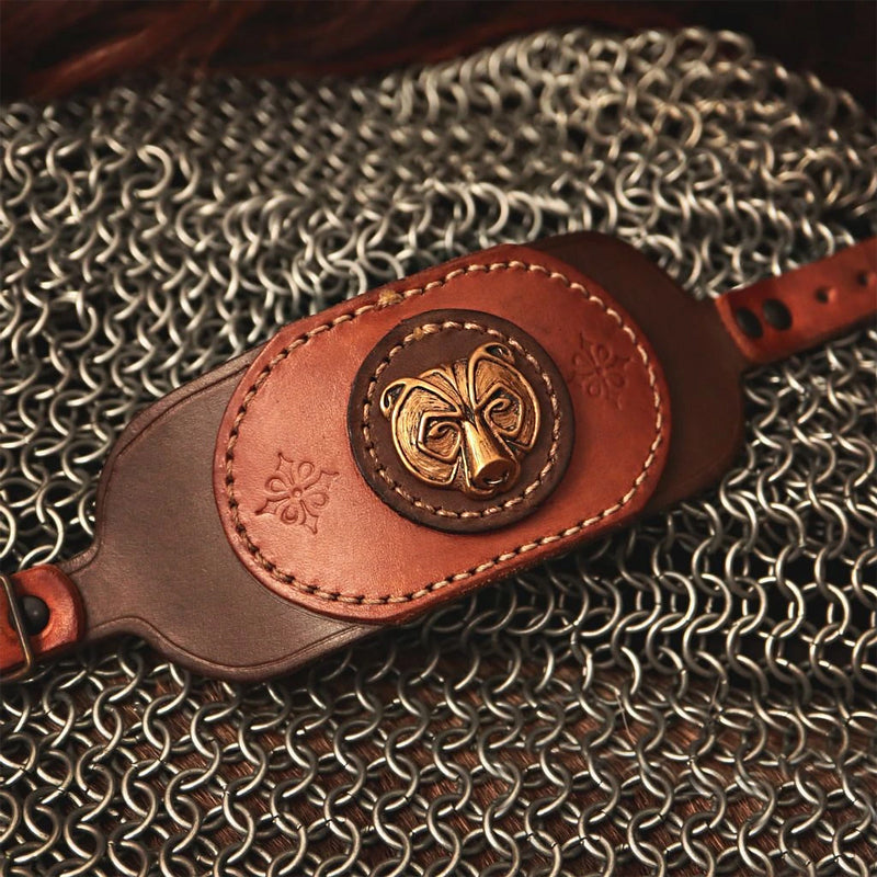 Berserker Bear Leather Bracelet