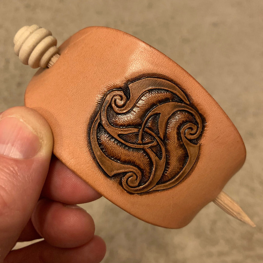 Leather Triskele Hair Clasp