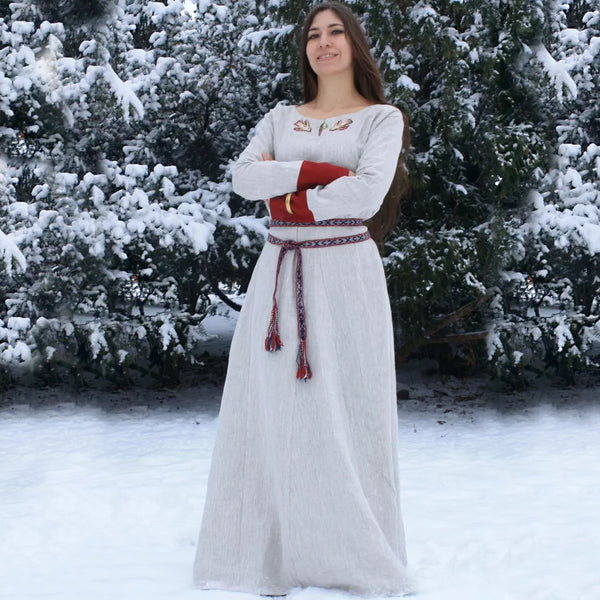 Embroidered Viking Dress - Linen