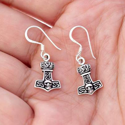 Small Mjolnir Earrings - Sterling Silver