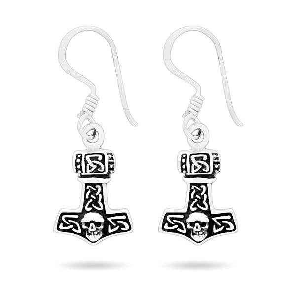 Mjolnir Dangling Earrings - Sterling Silver