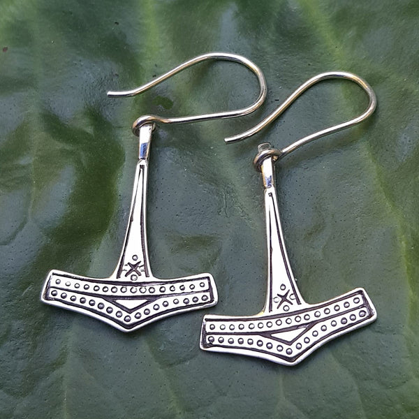 Mjolnir Earrings - Sterling Silver