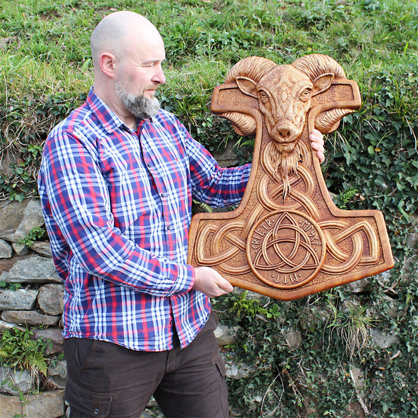 Carved Wood Mjolnir Wall Hanging