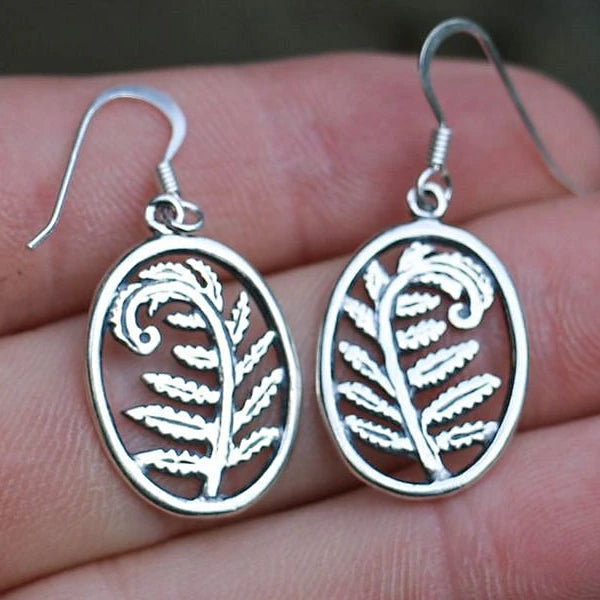 Nordic Fern Earrings - Sterling Silver