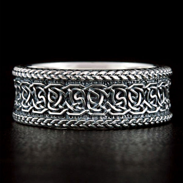 Norse Knotwork Wedding Band - Silver or Gold