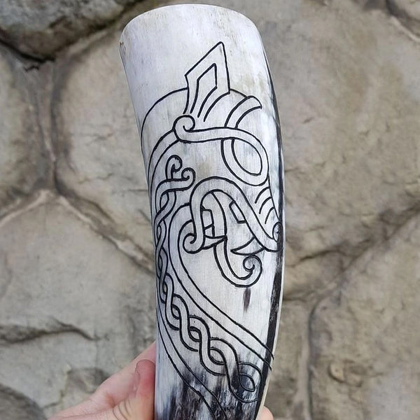 Norse Serpent Drinking Horn