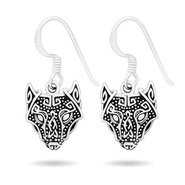 Norse Wolf Dangling Earrings