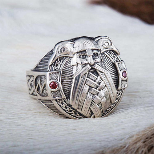Odin and Ravens Ring - Silver or Gold
