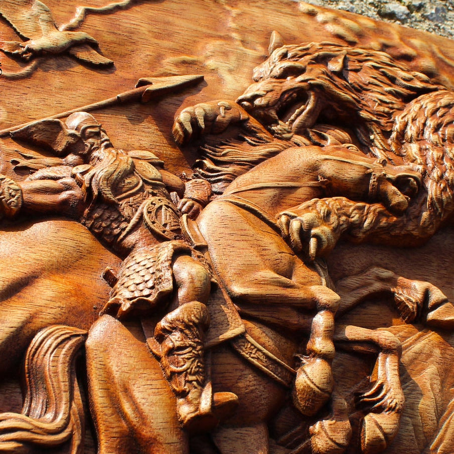 Carved Wood Odin vs Fenrir Wall Hanging