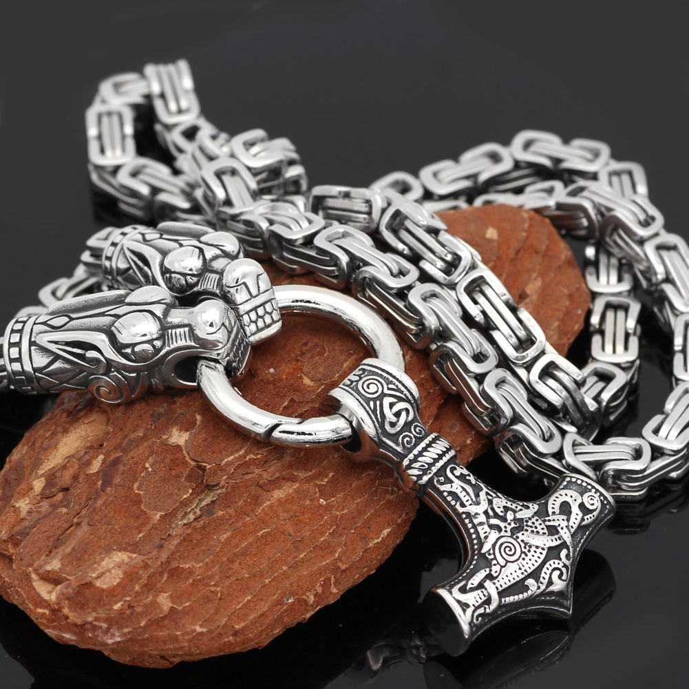 Stainless Steel King Chain with Dragon Heads