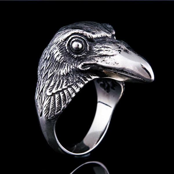Raven Head Ring - Sterling Silver or Gold
