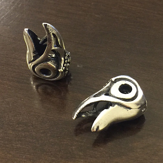 Raven Head Beard Bead - Sterling Silver