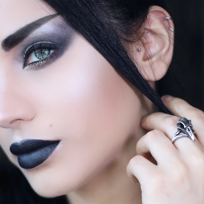 Raven Skull Ring - Pewter