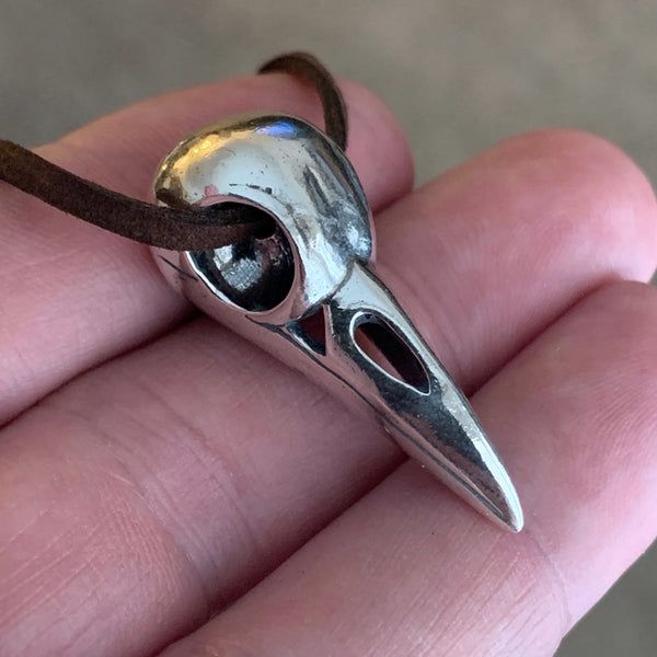 Raven Skull Necklace - Sterling Silver