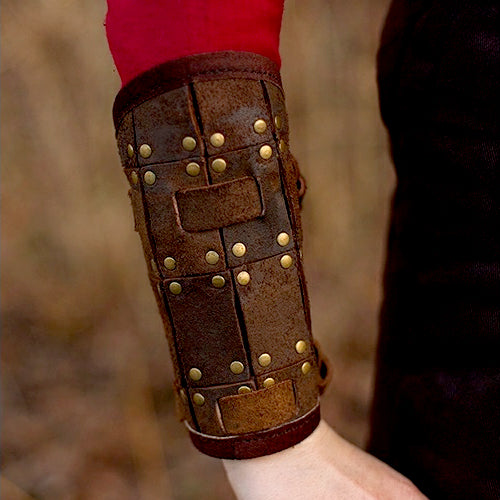 Rectangle Pattern Leather Bracers