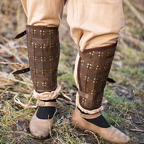 Rectangle Pattern Leather Greaves