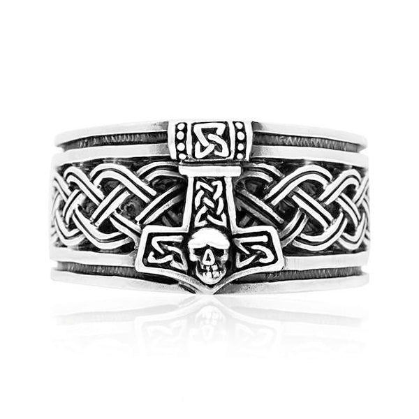 Skull Mjolnir Band Ring - Sterling Silver