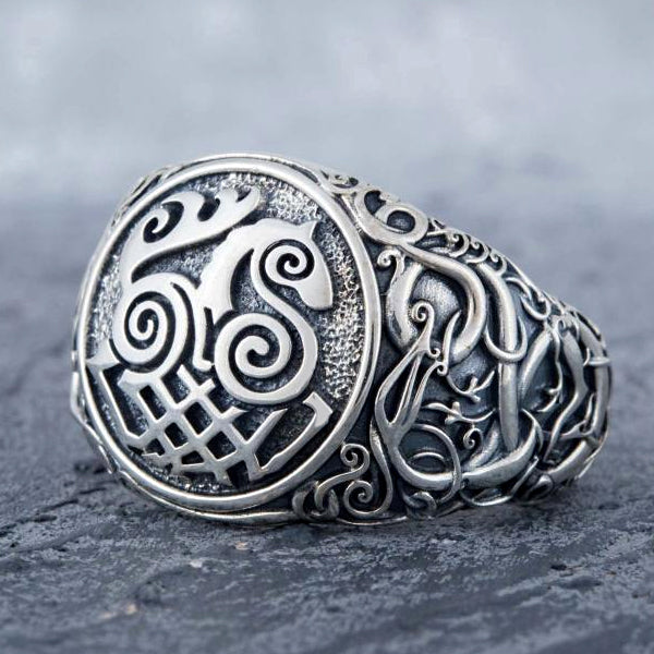 Sleipnir and Serpent Ring - Sterling Silver or Gold
