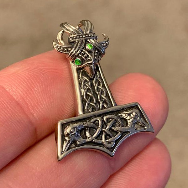 Small Flying Raven Mjolnir - White Brass