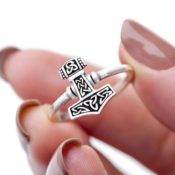 Smaller Thor's Hammer Ring - Sterling Silver