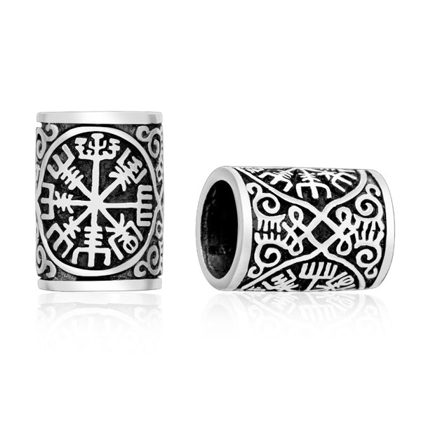 Viking Compass Beard Bead - Sterling Silver