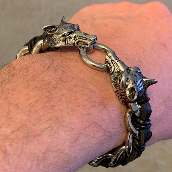 Stainless Steel and Leather Wolf Bracelet