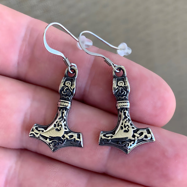 Large Mjolnir Earrings - Stainless Steel