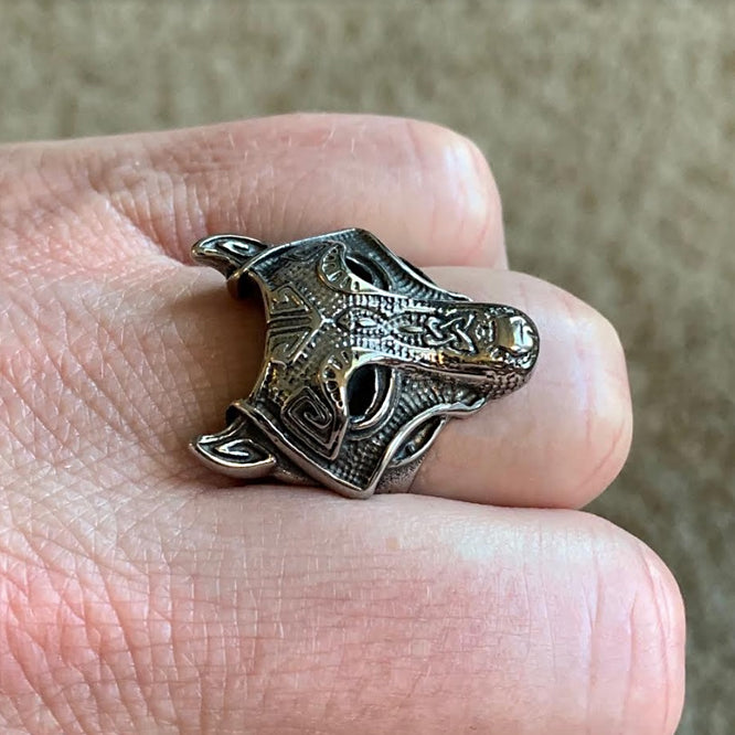 Wolf Head Ring - Stainless Steel