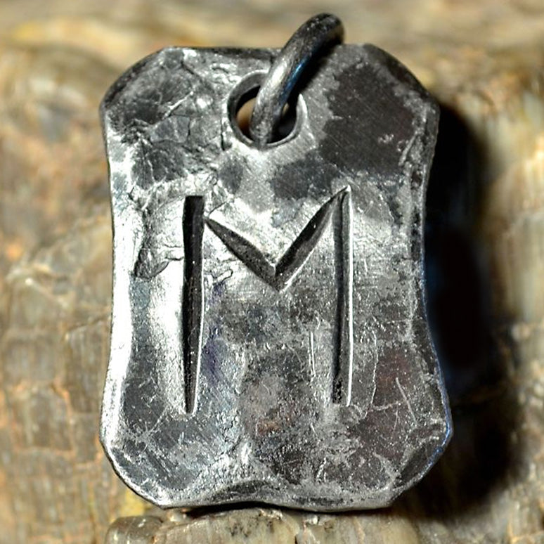 Hand Forged Steel Rune Pendants