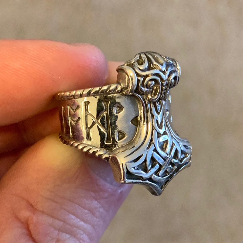 Sterling Silver Thor's Hammer Ring