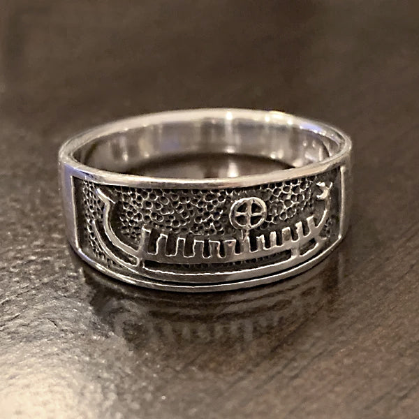 Viking Ship Ring - Sterling Silver