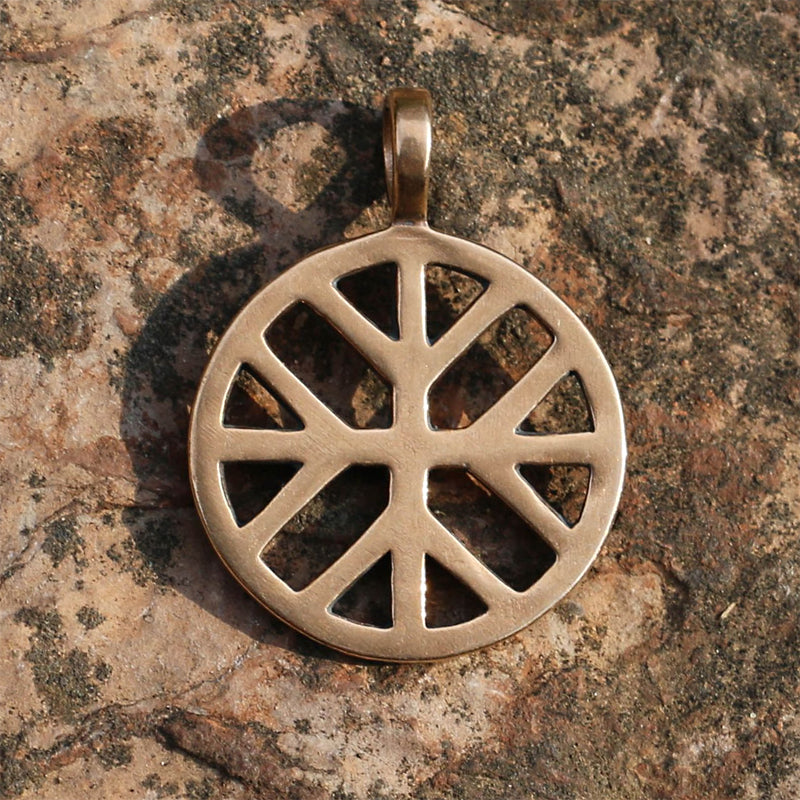 Sun Cross with Sacred Tree Pendant - Bronze or Sterling Silver