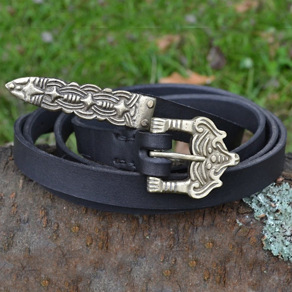 Thin Black Viking Belt - Leather