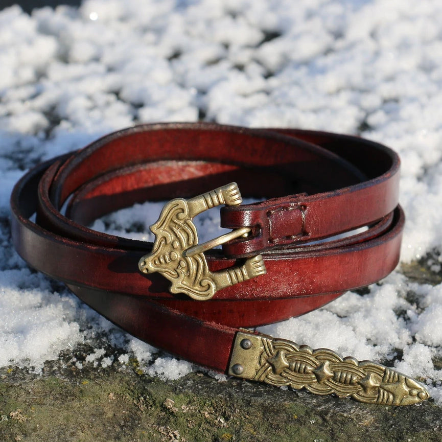 Thin Red Viking Belt - Leather