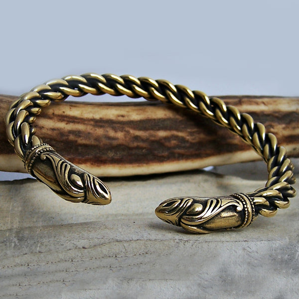 Thin Braided Raven Bracelet - Bronze